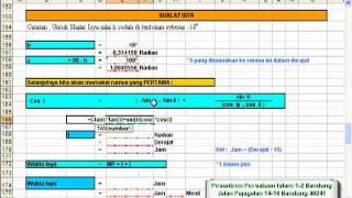 Ilmu Falak, Menghitung Waktu Shalat dengan Excel (Shalat Isya Rumus 1)