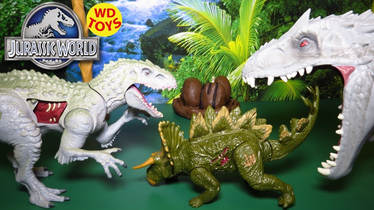 JURASSIC WORLD BASHERS & BITERS STEGOCERATOPS Dinosaur W Indominus Rex  Unboxing, Review By WD Toys