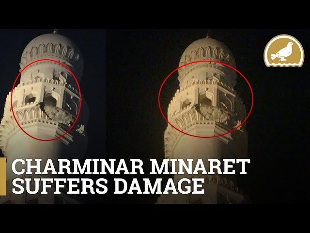 the minarets of charminar are damaged