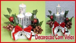Arranjo de mesa com velas, Decorações de natal DIY