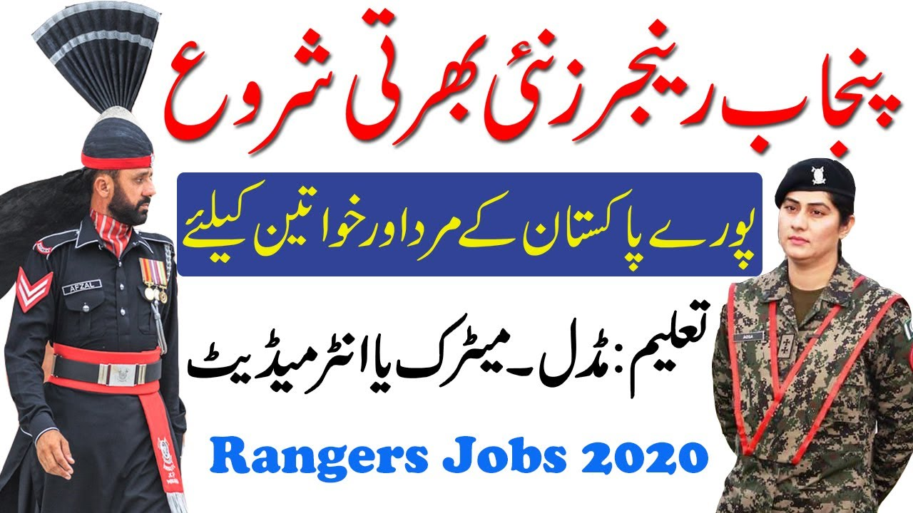 New Punjab rangers Jobs 2020. Apply From All Pakistan male and female both can Apply