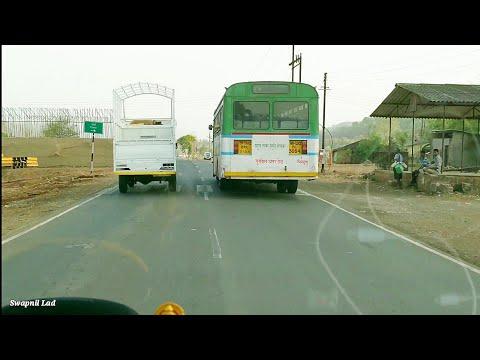 MSRTC Semi Luxury Hirkani Bus Overtakes..Mumbai Goa National Highway