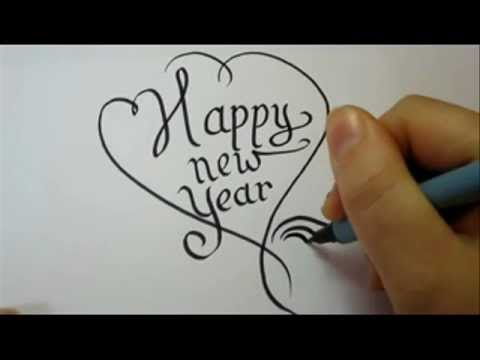 how to draw fancy letters happy new year in a heart