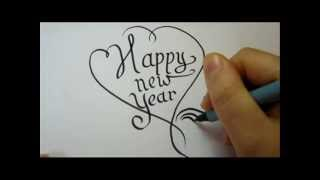 How To Draw Fancy Letters - Happy New Year In A Heart