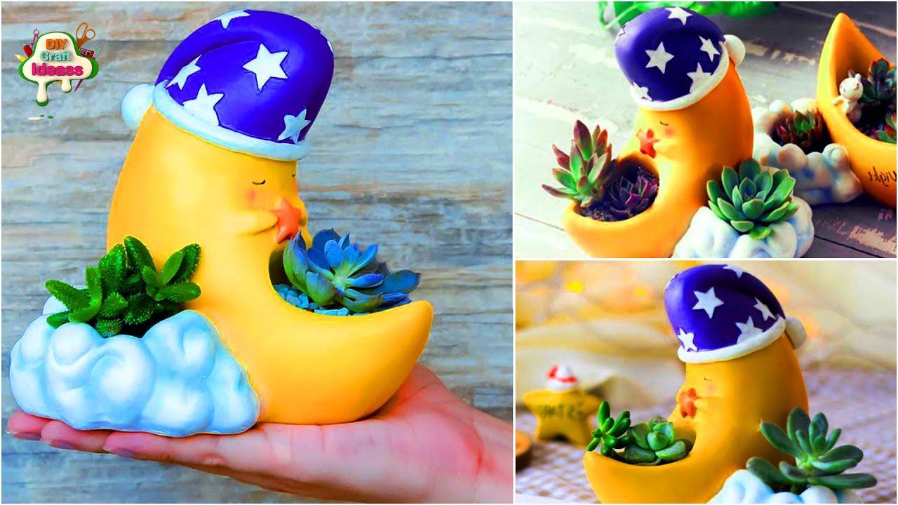 Cute Moon shape planter diy idea/3D art/decoration ideas/plastic bottle crafts/Home decorating ideas