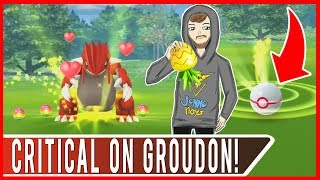 CRITICAL CATCH ON GROUDON WITH A PINAP BERRY?! Pokemon GO Legendary Groudon Raid