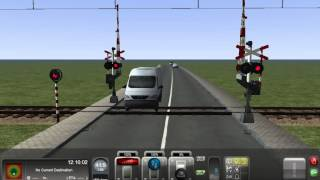 An AHOB railroad crossing @ My route built to test railroad crossings in Train Simulator 2013