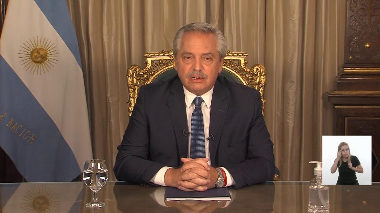 Mensaje del presidente de la Nación, Alberto Fernández.