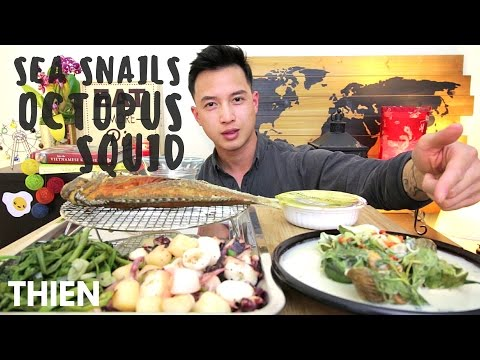 [mukbang/cookbang with THIEN]: Sea Snails, Octopus, Squid, and Fried Fish (Vietnamese Seafood)