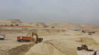 New Suez Canal, Egypt: a scene in the pits and mounds of sand on the first site channel