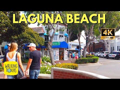 Walking Tour Of Downtown Laguna Beach, Orange County, California | 4K Walking Tour