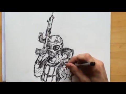 Comment Dessiner Un Combattant Militaire Youtube