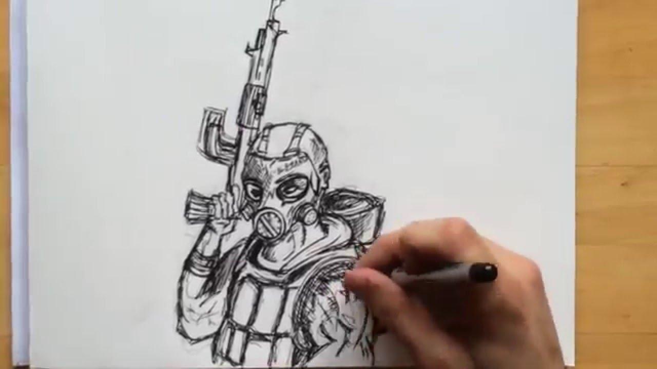 Comment dessiner un combattant militaire youtube - Dessin de militaire ...
