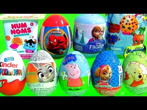 SURPRISE Toys Eggs Kinder Zootopia Paw Patrol Pooh Shopkins Blind Bag Disney Frozen NUM NOMS