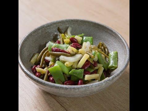 Salată de fasole și mazăre păstăi