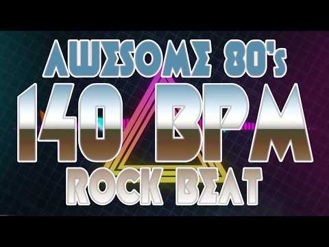 140 BPM - Awesome 80's Hard Rock Beat - 4/4 Drum Track - Metronome - Drum Beat