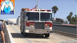[Santa Monica Pier] Engine 6 Santa Monica Fire Department + Meri Care Ambulance