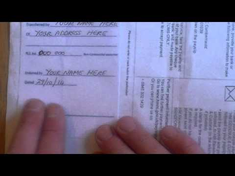 Paying bills by endorsing the Giro-credit slip using Postage stamps