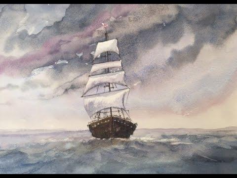 Парусник.Как переносить фото на бумагу. Акварель.Sailing Ship in watercolour