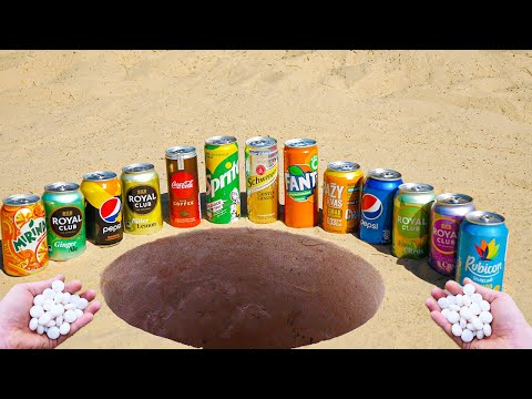 Coca Cola, Sprite, Pepsi, Fanta and Many Other Popular Sodas vs Mentos Underground!