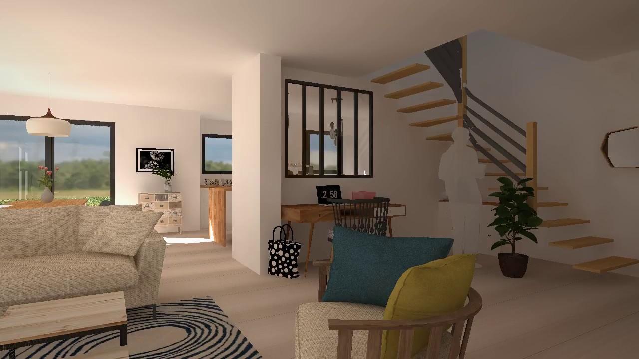Animation 3D intérieure salon et entrée avec verrière Atelier TY COZ ...