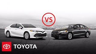 homepage tile video photo for 2020 Toyota Camry LE vs. 2020 Ford Fusion SE | Head to Head | Toyota
