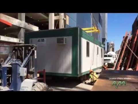 levage d 39 une roulotte de chantier location d 39 abris mobiles a m inc youtube. Black Bedroom Furniture Sets. Home Design Ideas