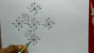 Latest and creative swastika flowers..Easy rangoli..13 to 3 dots..