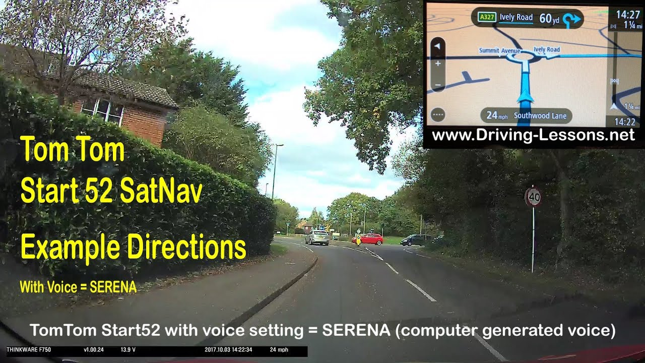 SatNav - How does the TomTom Start 52 give directions? (example 2 -  computer generated voice SERENA)