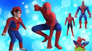Yusuf pretend play with spiderman toys | johny johny yes papa nursery rhymes songs, learn colors