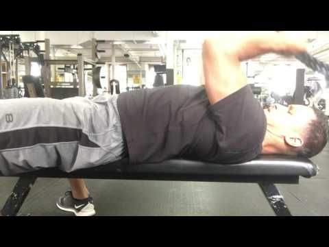 Supine cable rope tricep extension