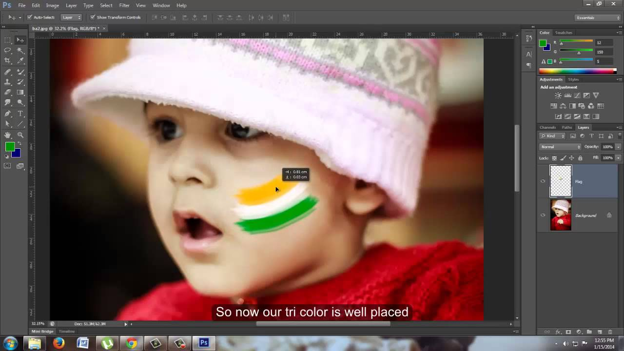 """Indian Republic Day Special """"Flag on face"""" PS tutorial"""