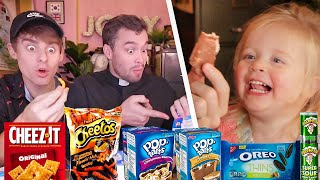 British Priest and Baby Try American Snacks for the First Time!?
