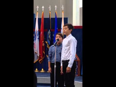 OhanaBoys Alex and Evan Owens sing the National Anthem
