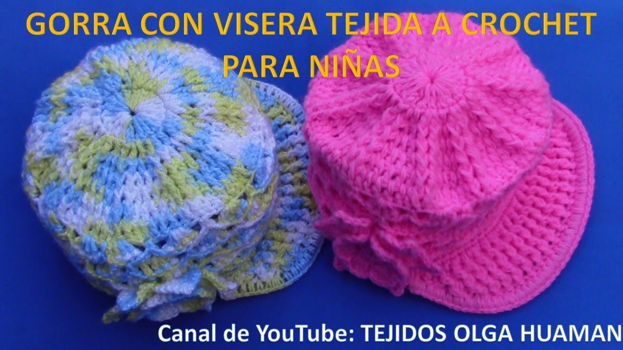 89c9df7a74f62 Gorra con Visera para niñas tejida a crochet en punto abanicos en ...