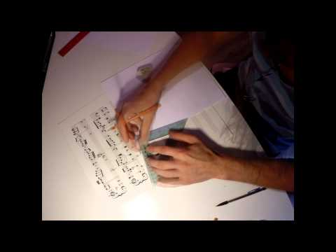 Hand drawing sheet music timelapse