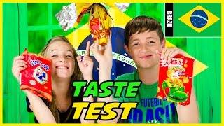 AMERICAN KIDS TRY TREATS FROM BRAZIL! CANDY TREATS & SNACKS TASTE TEST