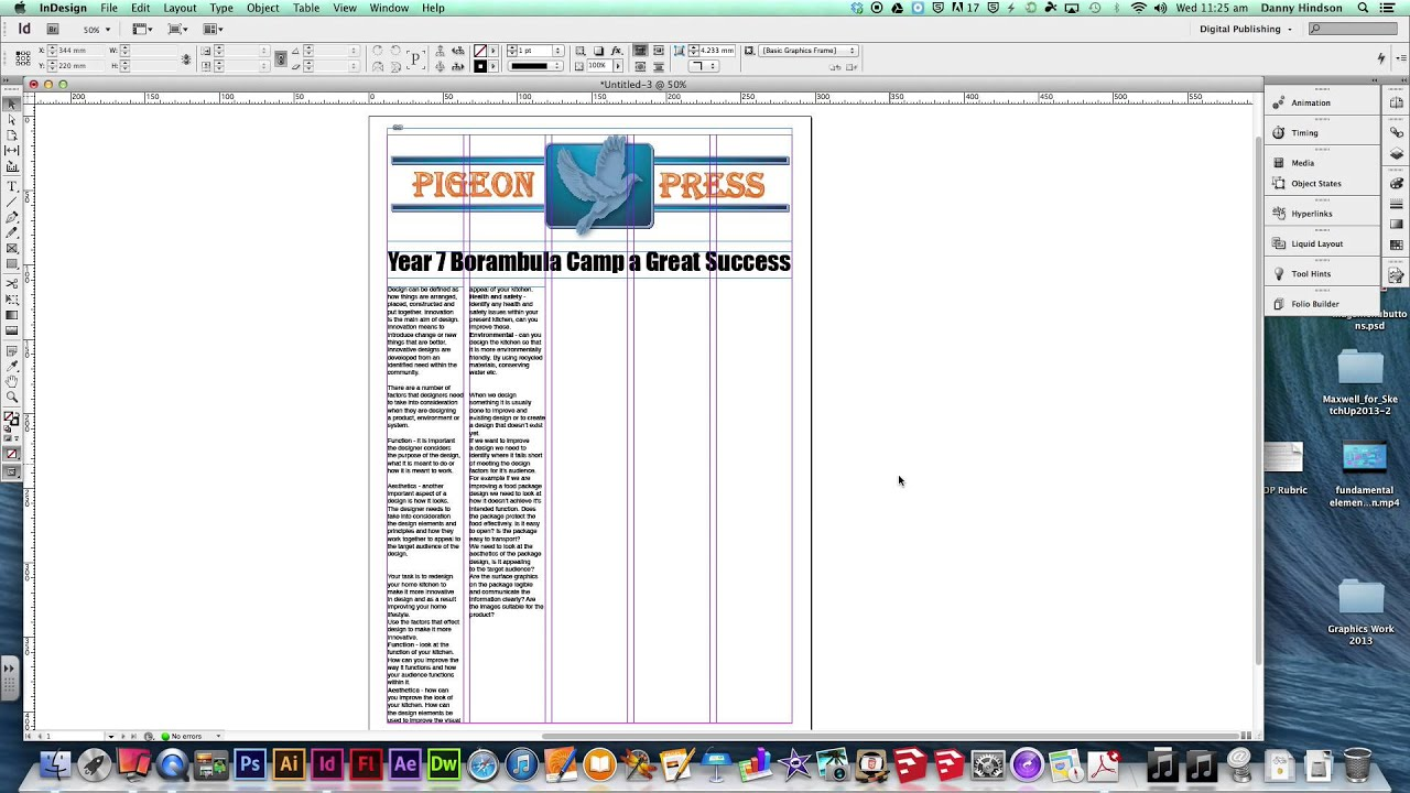 Newspaper Page Layout Using Indesign Youtube