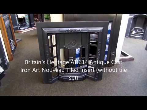 Britain`s Heritage ATI614 Antique Cast Iron Art Nouveau Tiled Insert