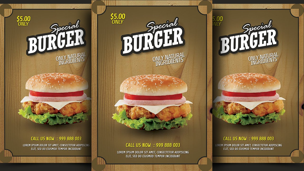 create burger promotion flyer photoshop tutorial youtube