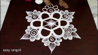 5x3 dots kolam design for Friday morning - Beautiful Rangoli designs - chukkala muggulu
