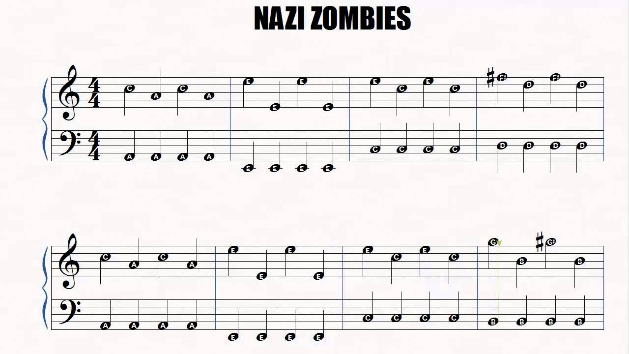 piano nazi zombies easy piano slow letter notes youtube
