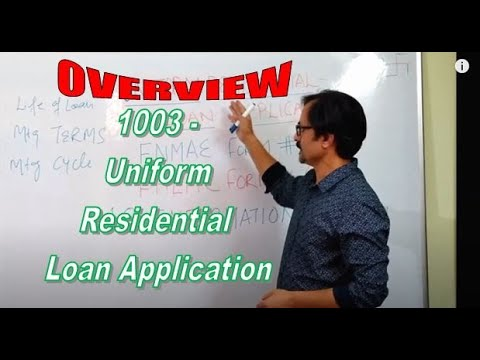 1003 - Session # 1 - Uniform Residential Loan Application - Form # 1003 - Overview