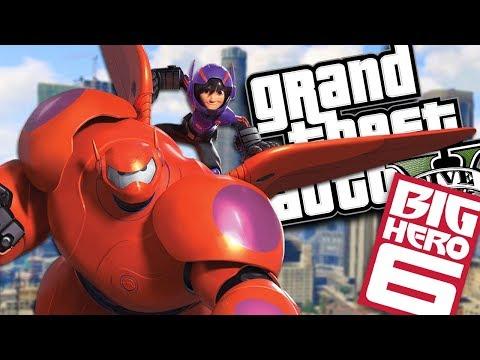 "BIG HERO 6 ""BAYMAX"" SAVES HIRO MOD w/ SUPER POWERS (GTA 5 PC Mods Gameplay) thumbnail"