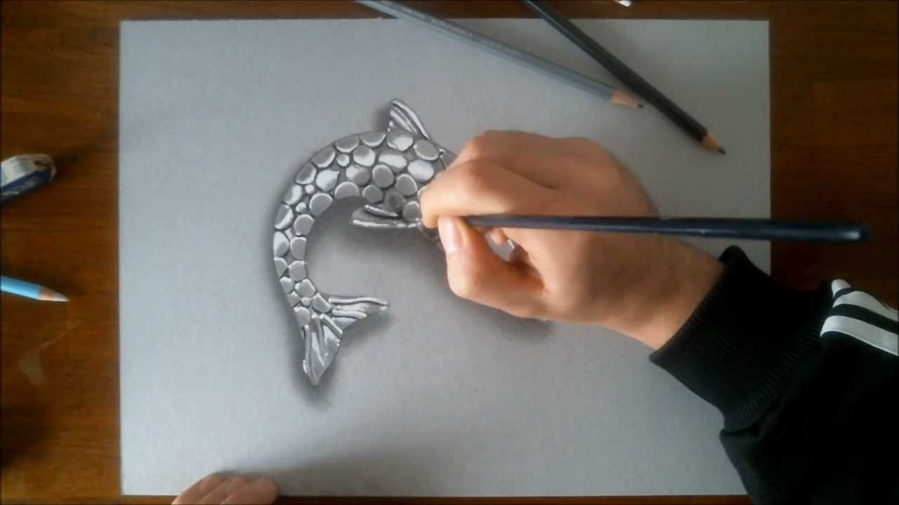 speed drawing silver fish how to draw 3d art youtube