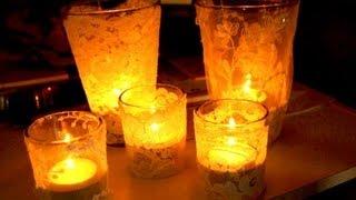 Lace Candles - Wedding votive ideas