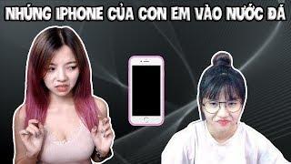 Trò Đùa Nhúng Iphone Của Con Em Gái Vào Thùng Nước Đá Và Cái Kết || TROLL BY OHSUSU
