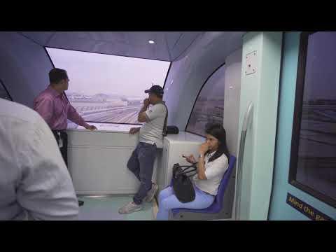 United Arab Emirates, Dubai, Metro ride from Airport Terminal 1 to Airport Terminal 3