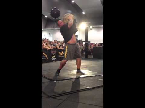 Hafthor Thor Bjornsson Strongman 141kg 310lbs Atlas Stone to shoulder Giants Live Melbourne 2014