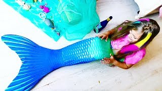 BECAME A REAL MERMAID ??? Mermaid tail and we build a PLAY HOUSE !! #mermaid Video for children